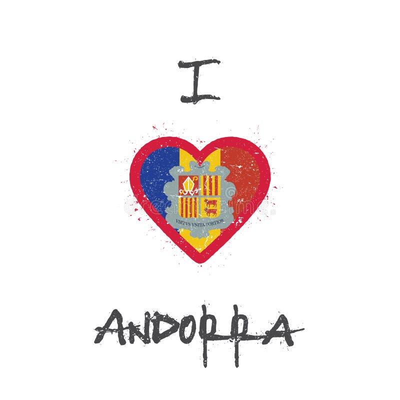 Ik houd de t-shirt van ontwerp van Andorra stock illustratie