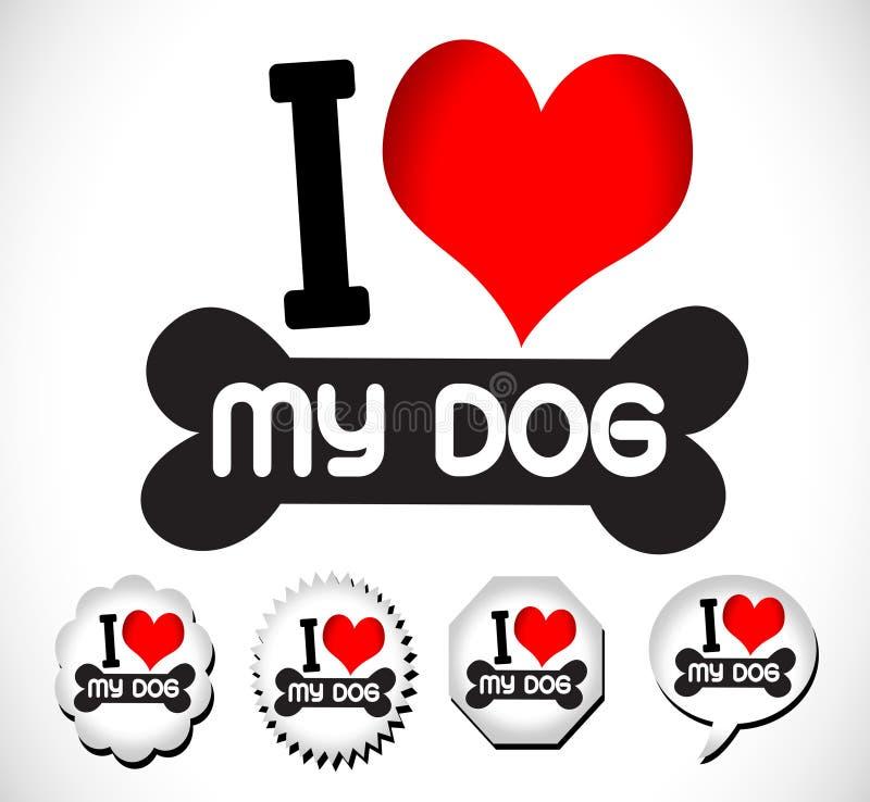 Ik houd Hond van symbool en leuke Hond royalty-vrije illustratie