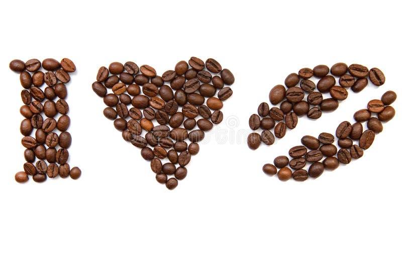 Ik houd koffie van bonen zonder achtergrond stock foto's