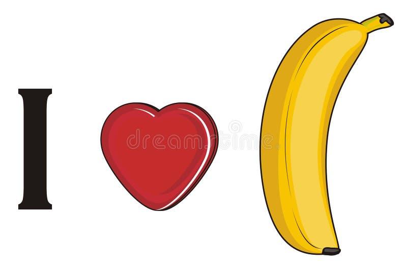 Ik houd van banaan royalty-vrije illustratie