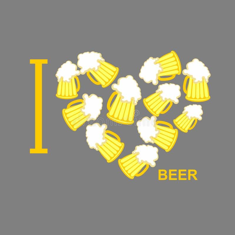 Ik houd van bier Symboolhart van stenen bierkroezen van bier Vector Illustratio royalty-vrije illustratie