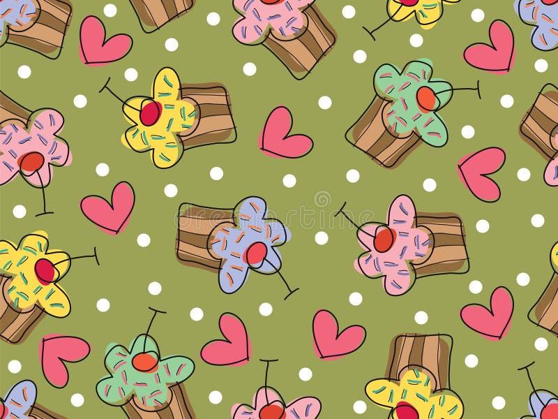 Ik houd van cupcakes - naadloos patroon royalty-vrije illustratie