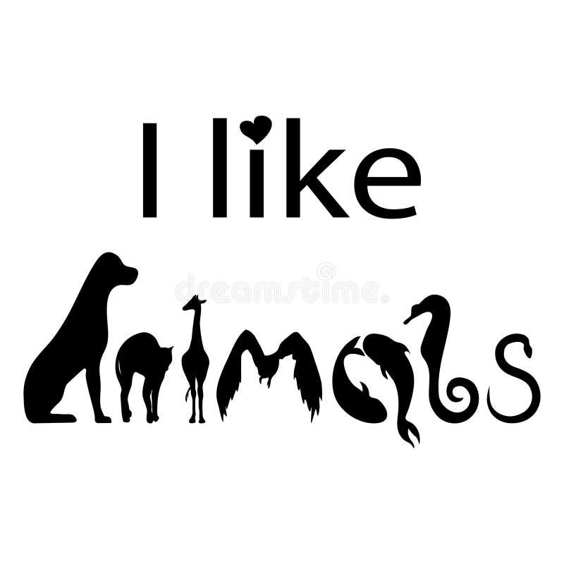 Ik houd van de van letters voorziende affiche van de dierentypografie Vectorillustratie voor de Wereld Dierlijke Dag, de dag van  stock illustratie