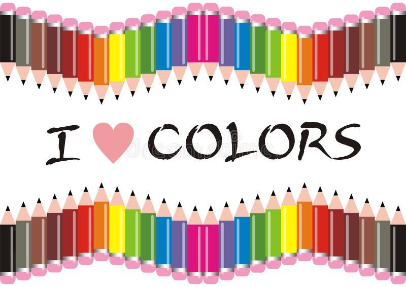 Ik houd van de Potloden van Kleuren vector illustratie