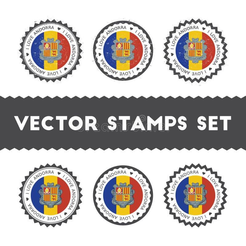 Ik houd van de vector geplaatste zegels van Andorra royalty-vrije illustratie