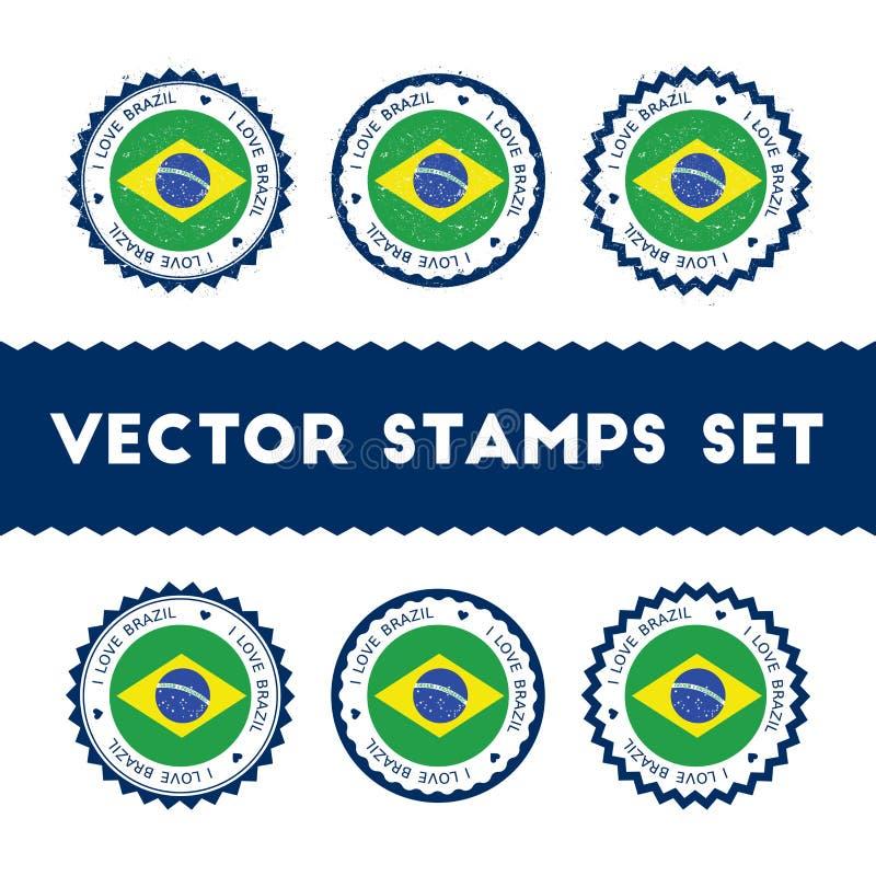 Ik houd van de vector geplaatste zegels van Brazilië vector illustratie