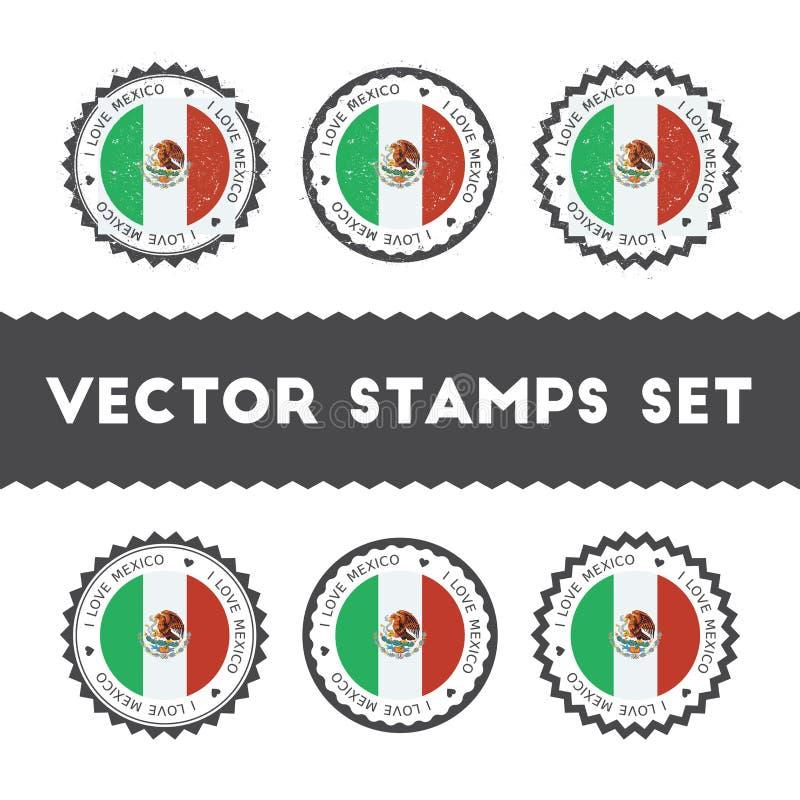 Ik houd van de vector geplaatste zegels van Mexico vector illustratie