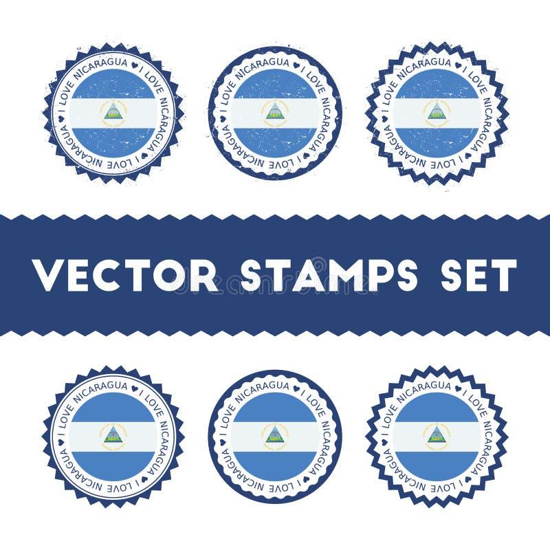 Ik houd van de vector geplaatste zegels van Nicaragua royalty-vrije illustratie