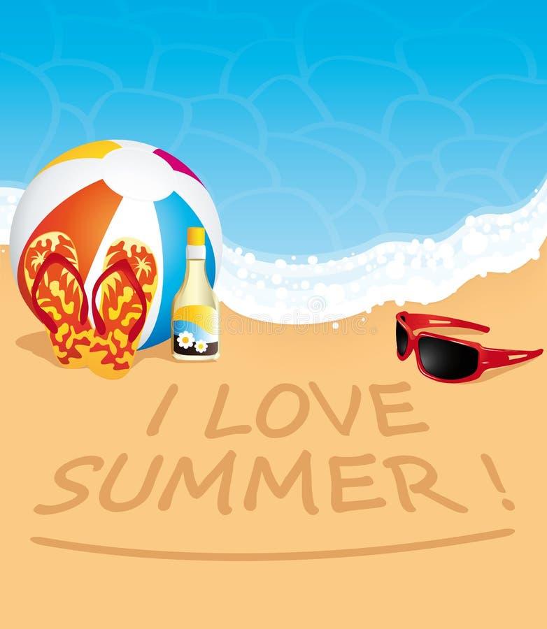 Ik houd van de zomer! Strand vectorillustratie royalty-vrije illustratie