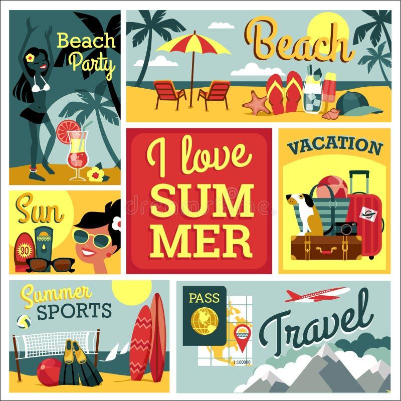 Ik houd van de Zomer Vectorillustratie van traditionele de zomervacatio royalty-vrije illustratie