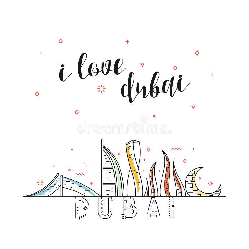 Ik houd van Doubai Verenigde Arabische emiraten landende pagina voor reclame stock illustratie