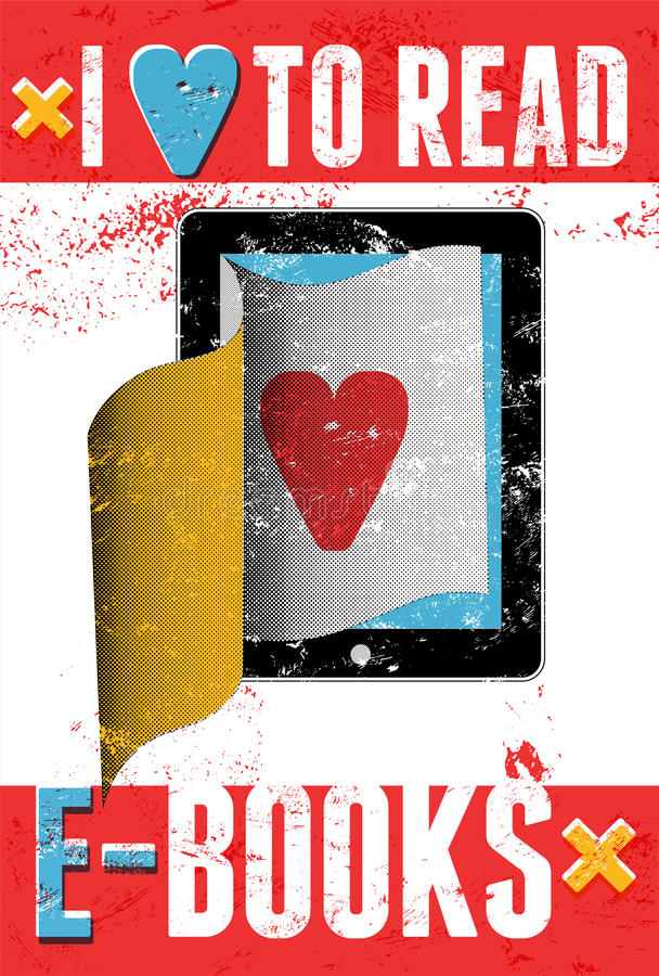 Ik houd van e-boeken te lezen Typografische affiche in grungestijl De computer van de tablet met pagina's Vector illustratie vector illustratie