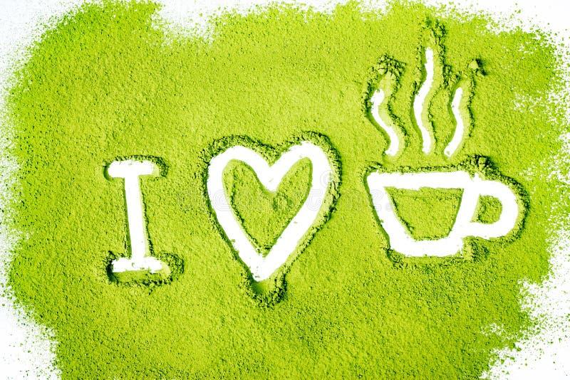 Ik houd van groene thee stock afbeeldingen