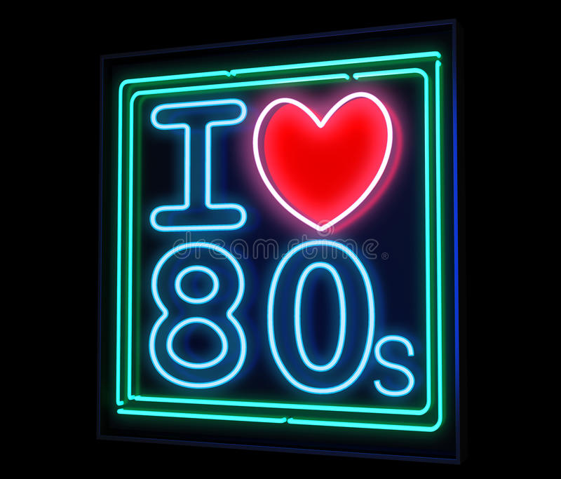 Ik houd van het de jaren '80neon stock illustratie