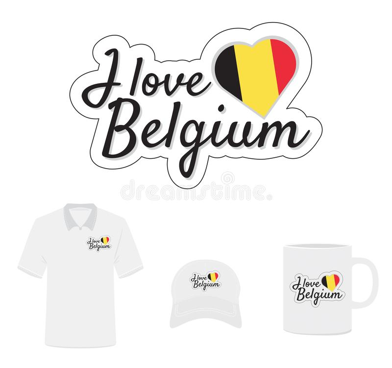 Ik houd van het Embleem van België, Hartvlag vector illustratie