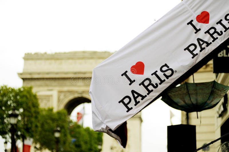 Ik houd van het kenteken van Parijs stock foto