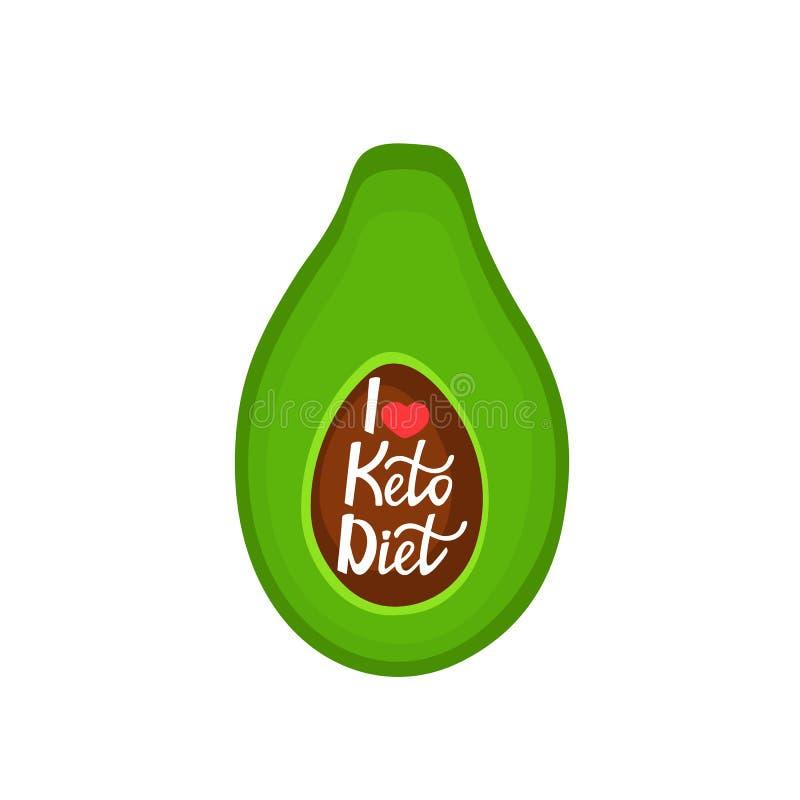 Ik houd van het Keto Dieet - overhandig het getrokken van letters voorzien De Avocado van de besnoeiing Gezond voedsel stock illustratie