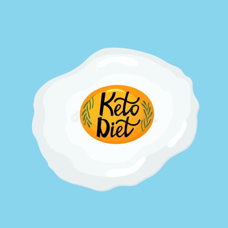 Ik houd van het Keto Dieet - overhandig het getrokken van letters voorzien Gebraden ei met een twijg van rozemarijn gezond ontbij vector illustratie