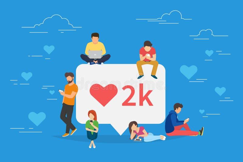 Ik houd van het sociale media bel met rood hartsymbool stock illustratie