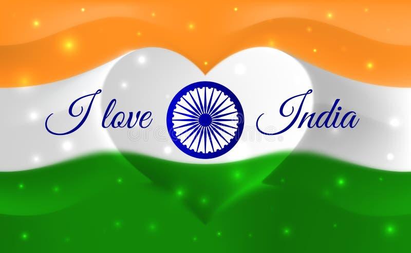 Ik houd van India Indische nationale vlag met hart gestalte gegeven golven Achtergrond in kleuren van de Indische vlag Hartvorm,  royalty-vrije illustratie