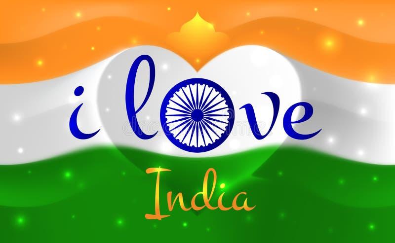 Ik houd van India Indische nationale vlag met hart gestalte gegeven golven Achtergrond in kleuren van de Indische vlag Hartvorm,  stock illustratie