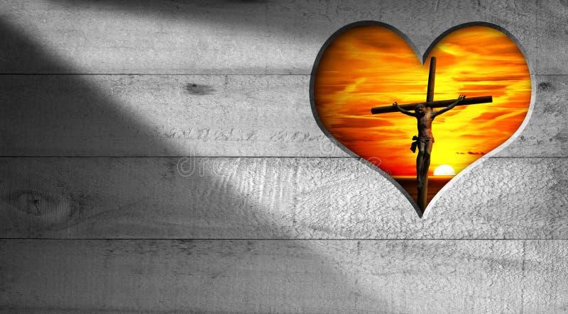 Ik houd van Jesus - Kruisiging bij Zonsondergang royalty-vrije illustratie