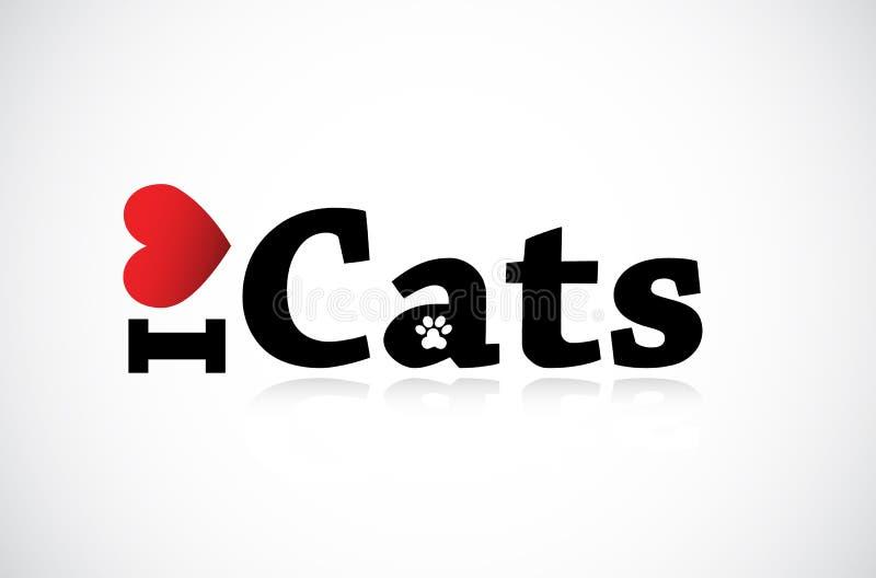 Ik houd van Katten royalty-vrije illustratie