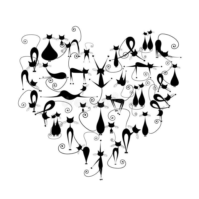 Ik houd van katten! De zwarte katten silhouetteren in hartvorm royalty-vrije illustratie