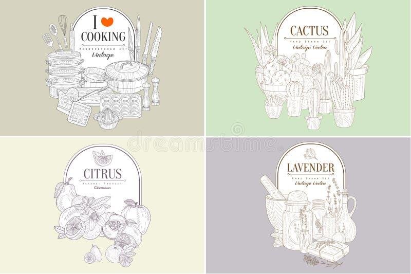 Ik houd van kokend, Cactus, Citrusvruchtenlavendel, Creatieve Uitstekende Hand Getrokken Affiches Geplaatst Vectorillustratie vector illustratie