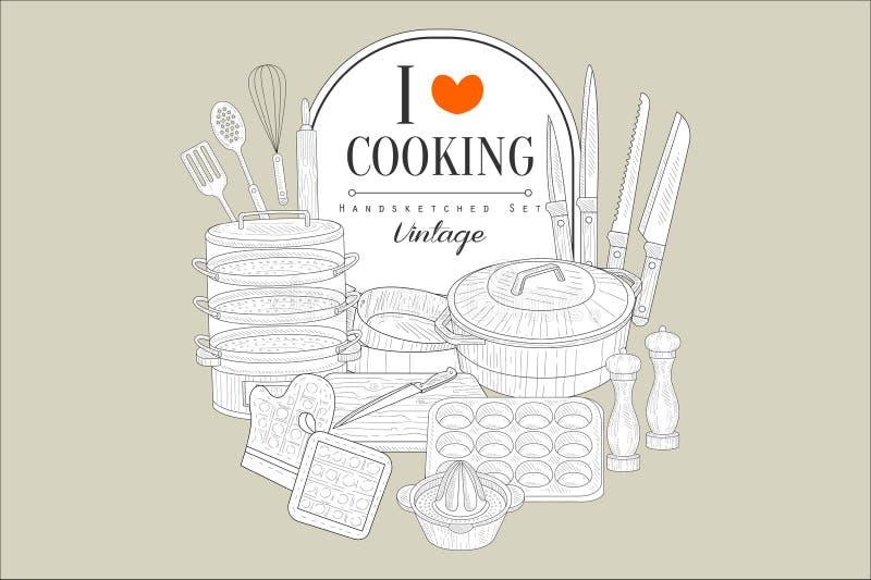Ik houd van kokend, handsketched de creatieve uitstekende affiche met keukentoestellen vectorillustratie stock illustratie