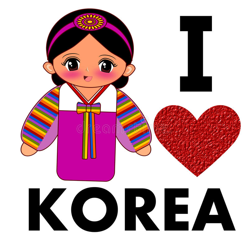 Ik houd van Korea vector illustratie