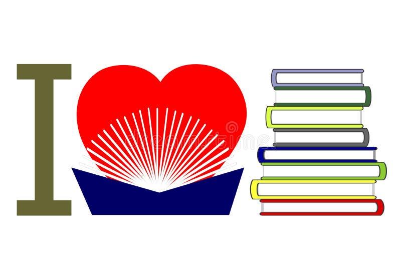 Ik houd van lezend boeken royalty-vrije illustratie