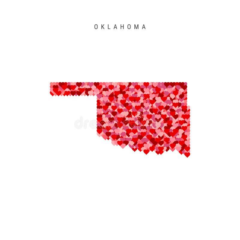 Ik houd van Oklahoma De rode Vectorkaart van het Hartenpatroon van Oklahoma royalty-vrije illustratie