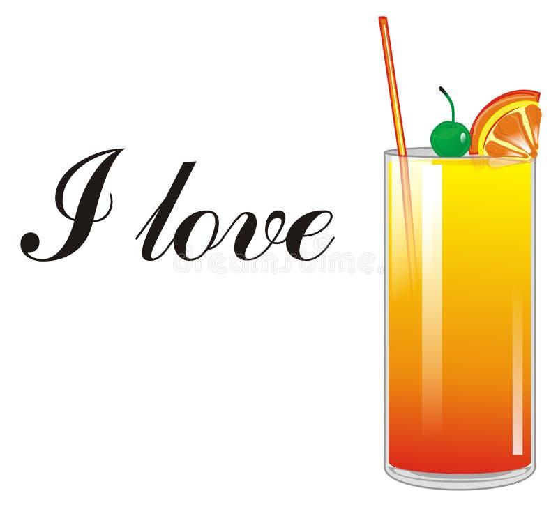Ik houd van oranje cocktail vector illustratie
