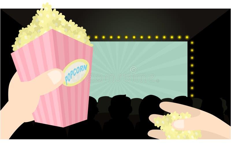 Ik houd van popcorn en film stock illustratie