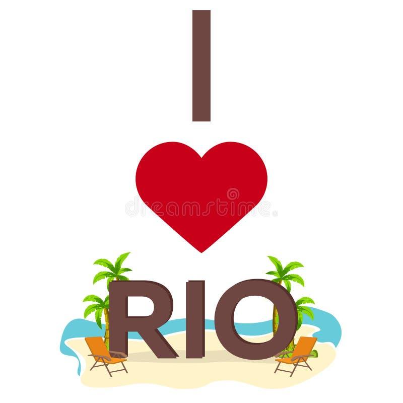 Ik houd van Rio brazilië Reis Palm, de zomer, zitkamerstoel Vector vlakke illustratie royalty-vrije illustratie