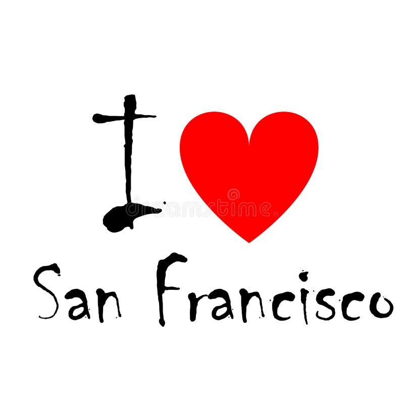 Ik houd van San Francisco, embleem royalty-vrije illustratie