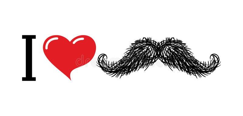Ik houd van snor Hartsymbool van liefde Voor minnaars van embleem van h vector illustratie