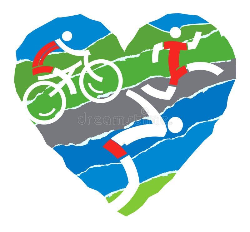 Ik houd van triatlon royalty-vrije illustratie