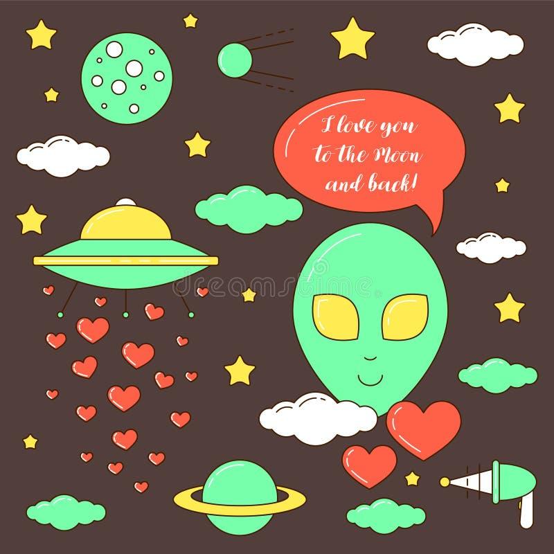 Ik houd van u aan de Maan en de achterillustratie royalty-vrije illustratie