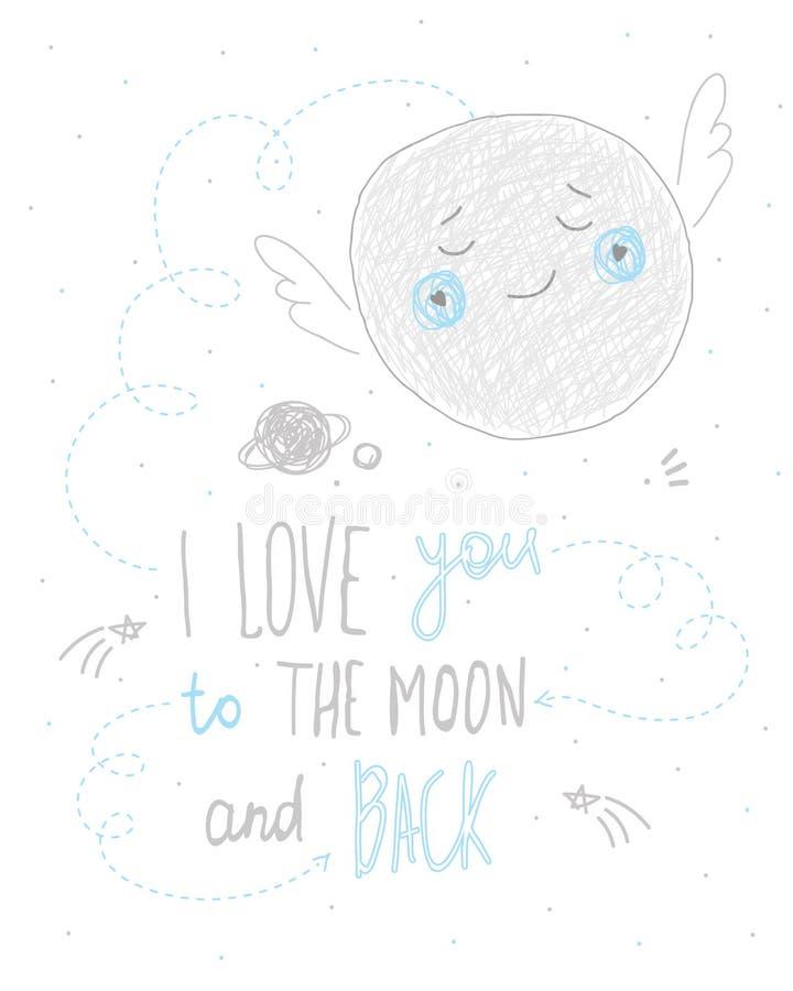 Ik houd van u aan de maan en het achter het van letters voorzien ontwerp van de citaathand getrokken leuke kaart royalty-vrije illustratie