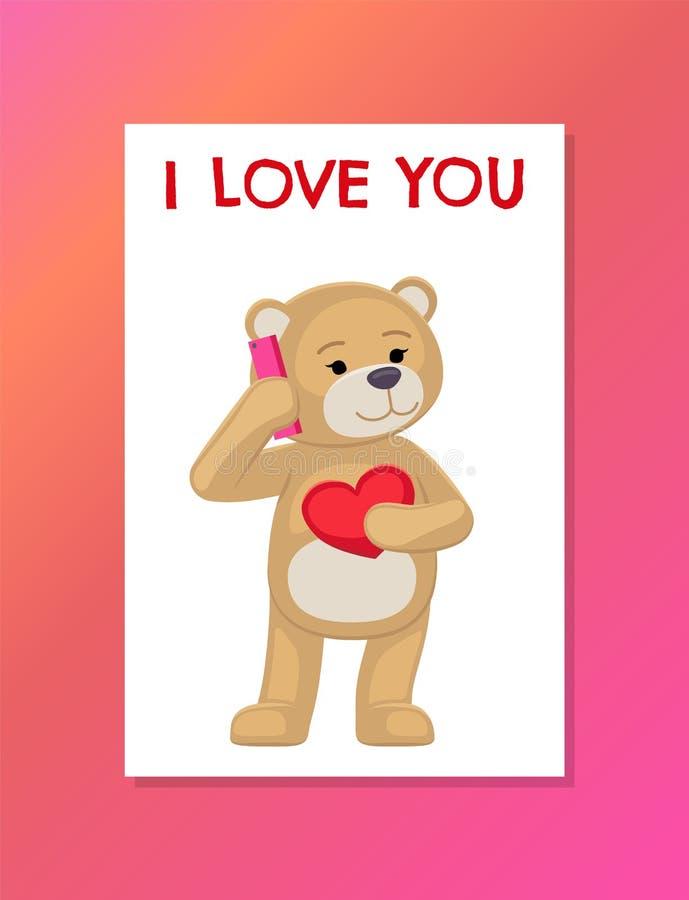 Ik houd van u Affiche met Pluche draag Toy Speak Phone royalty-vrije illustratie