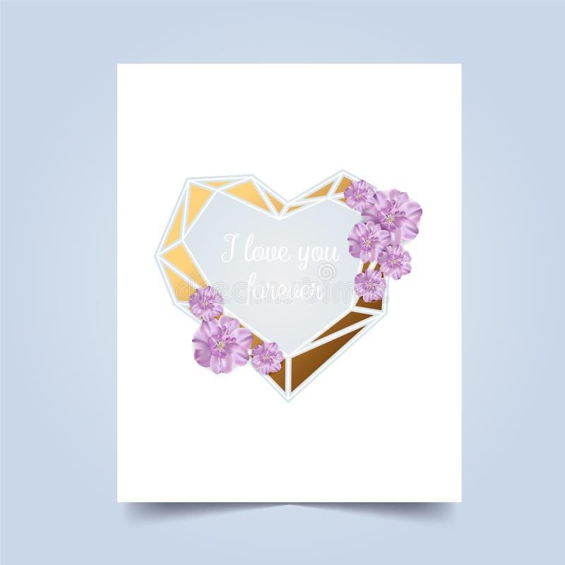 Ik houd van u De Dag van Valentins van de groetkaart Vector illustratie royalty-vrije stock afbeeldingen