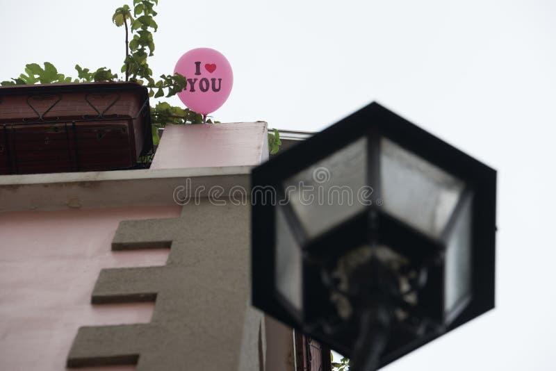 Ik houd van u die ballon in Macao China wordt gezien royalty-vrije stock foto's