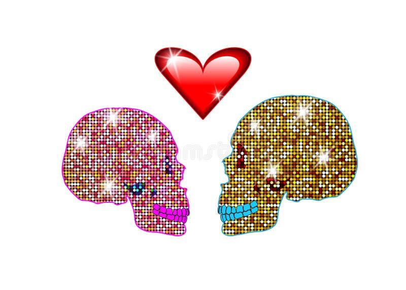 Ik houd van u, Glanzend schitterend schedelspaar in liefde Concept liefde, de Dag van Valentine ` s, Dag van de doden vector illustratie