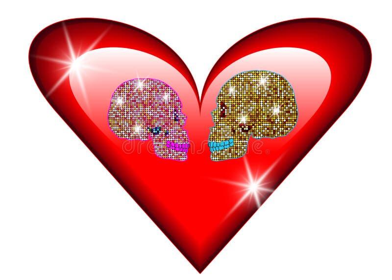 Ik houd van u, Glanzend schitterend schedelspaar in liefde Concept liefde, de Dag van Valentine ` s, Dag van de doden stock illustratie