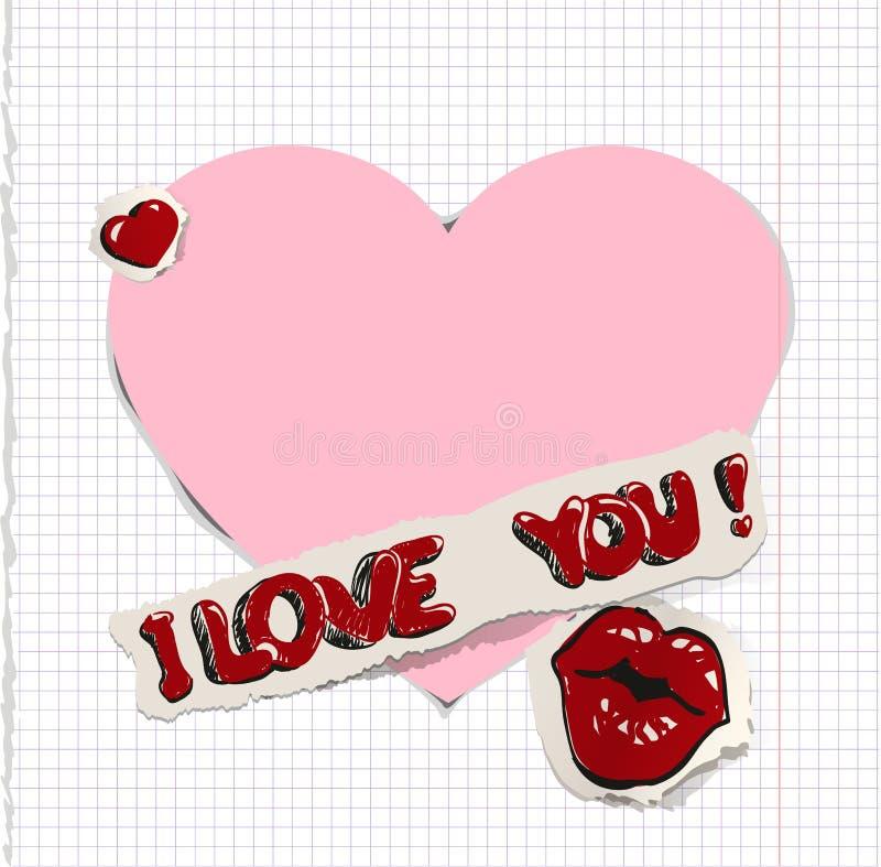 Ik houd van u Hart en kus op papier vector illustratie