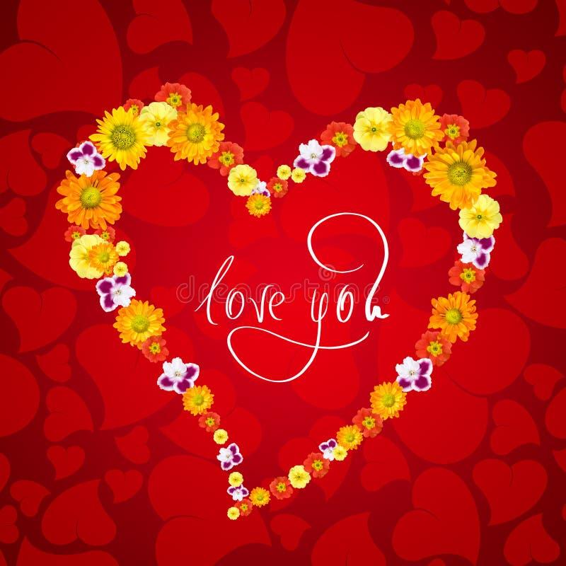 Ik houd van u. hart van bloemen royalty-vrije illustratie