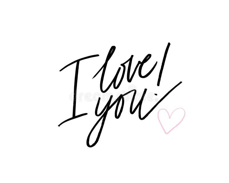 Ik houd van u I Hart u De kalligrafiekaart van de valentijnskaartendag Hand getrokken ontwerpelementen Het met de hand geschreven stock illustratie