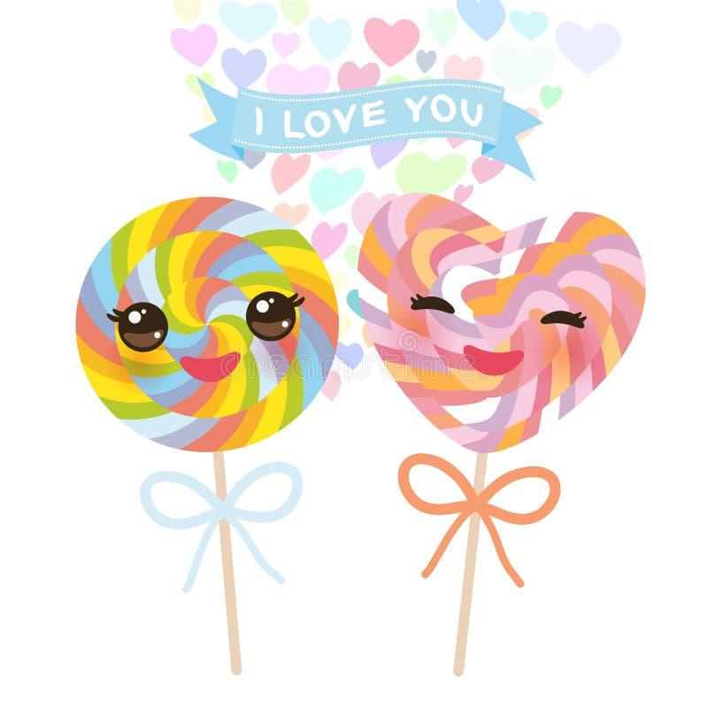 Ik houd van u kaard ontwerp met gevormde het suikergoedlolly van Kawaii Hart met roze wangen en het knipogen ogen, pastelkleuren  royalty-vrije illustratie